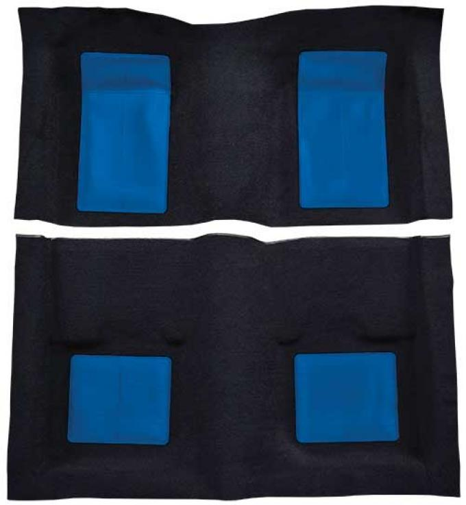 OER 1969 Mustang Mach 1 Passenger Area Nylon Floor Carpet - Black with Dark Blue Inserts A4103A12