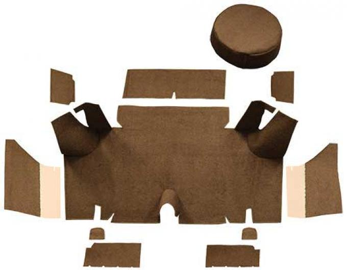 OER 1965-66 Mustang Fastback Loop Trunk Carpet Set with Boards - Medium Saddle A4054A69