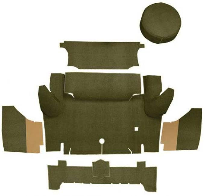 OER 1965-66 Mustang Coupe Nylon Loop Trunk Carpet Set with Boards - Moss Green A4063A19