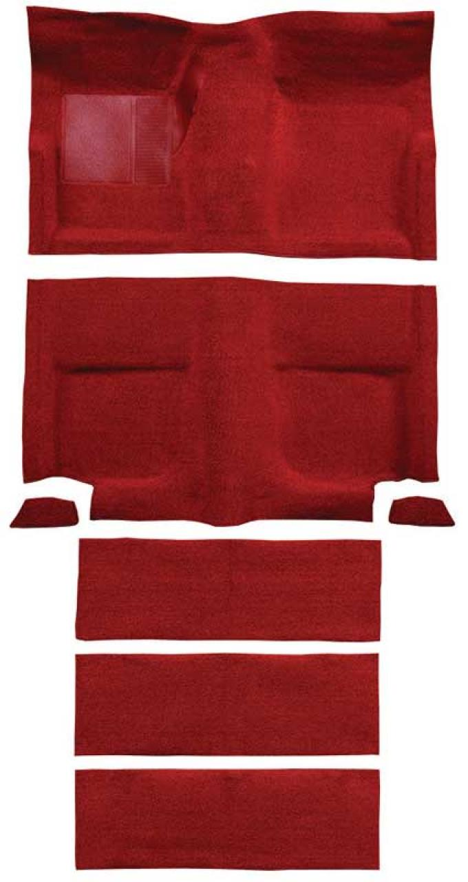 OER 1965-68 Mustang Fastback Loop Carpet with Fold Downs and Mass Backing - Red A4102B02