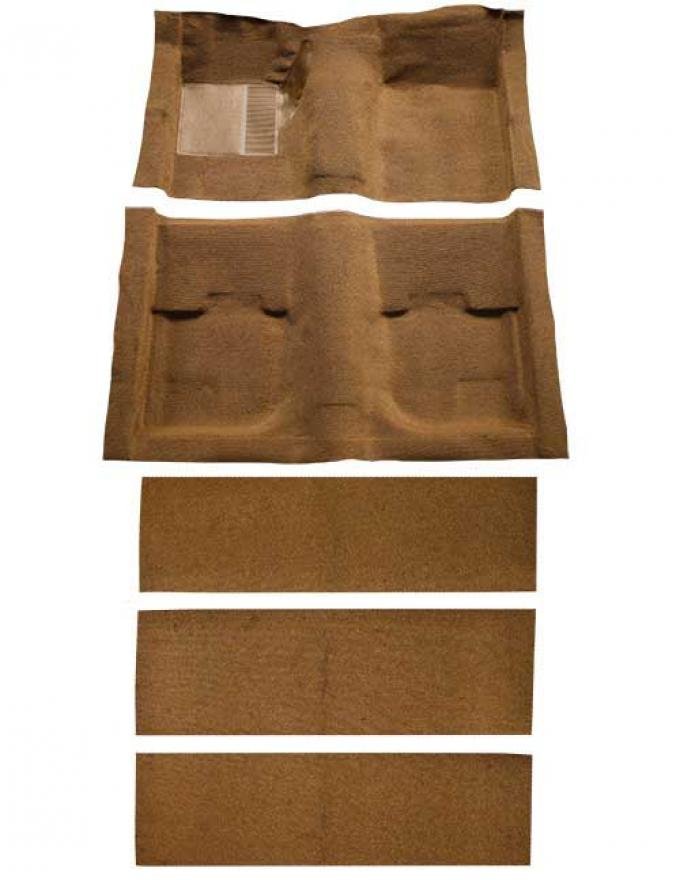 OER 1969-70 Mustang Fastback Nylon Loop Floor Carpet with Fold Downs and Mass Backing - Ginger A4055B29