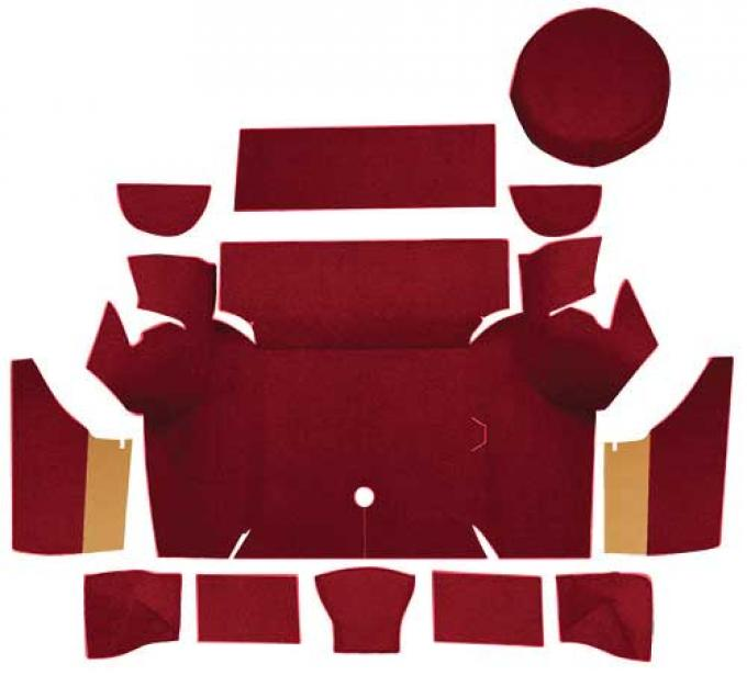OER 1967-68 Mustang Coupe Nylon Loop Trunk Carpet Set with Boards - Maroon A4075A15