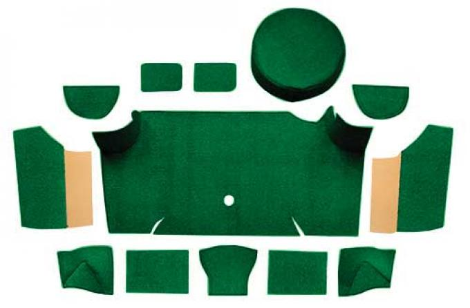 OER 1967-68 Mustang Fastback Nylon Loop Trunk Carpet Set with Boards - Green A4083A39