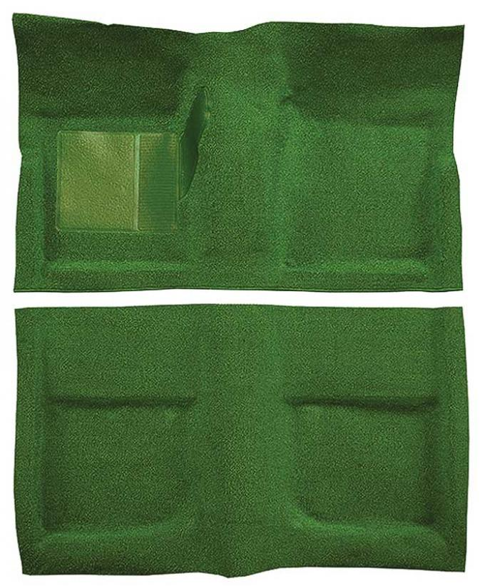 OER 1965-68 Mustang Coupe Passenger Area Nylon Loop Floor Carpet Set with Mass Backing - Moss Green A4045B19