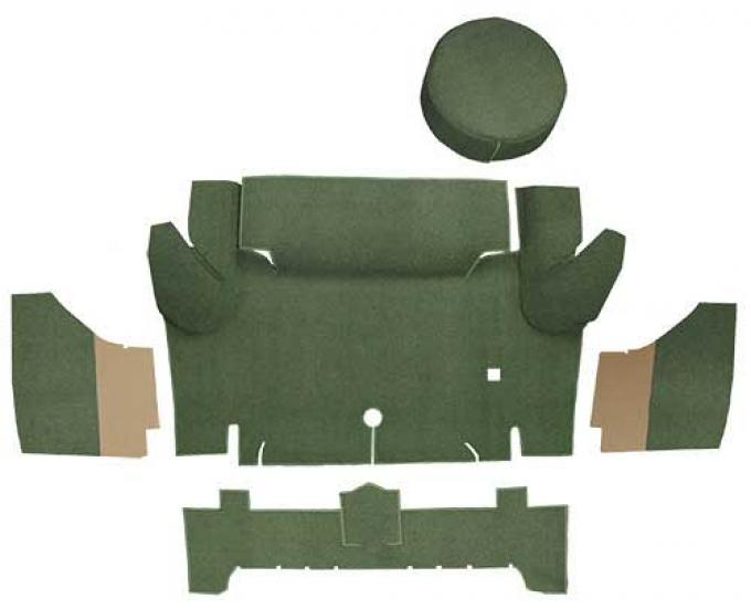 OER 1965-66 Mustang Convertible Loop Trunk Carpet Set with Boards - Moss Green A4050A19