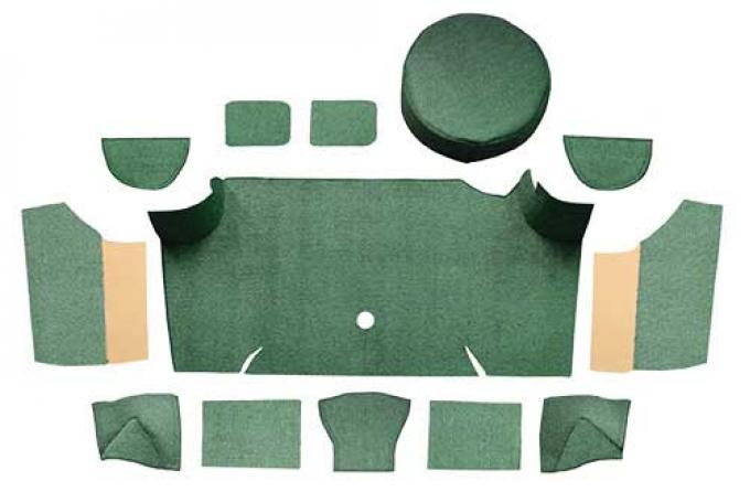 OER 1967-68 Mustang Fastback Loop Trunk Carpet Set with Boards - Moss Green A4066A19
