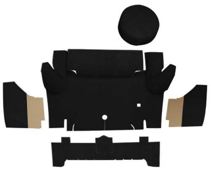 OER 1965-66 Mustang Convertible Nylon Loop Trunk Carpet Set with Boards - Black A4067A01