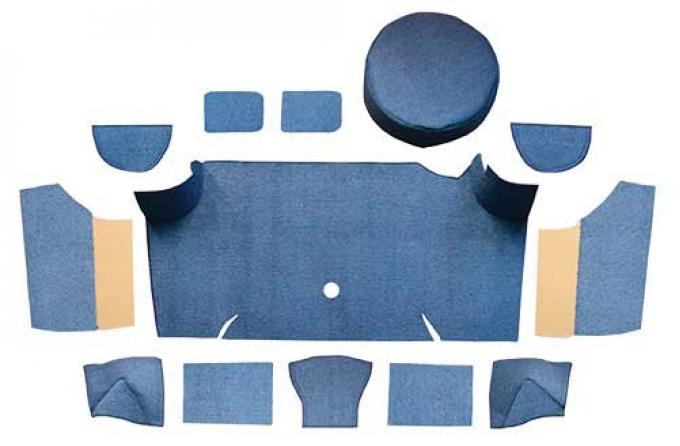 OER 1967-68 Mustang Fastback Loop Trunk Carpet Set with Boards - Ford Blue A4066A62
