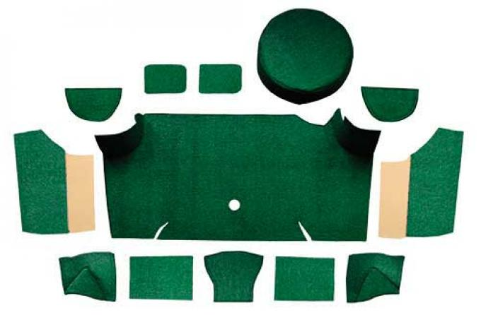 OER 1967-68 Mustang Fastback Loop Trunk Carpet Set with Boards - Dark Green A4066A13