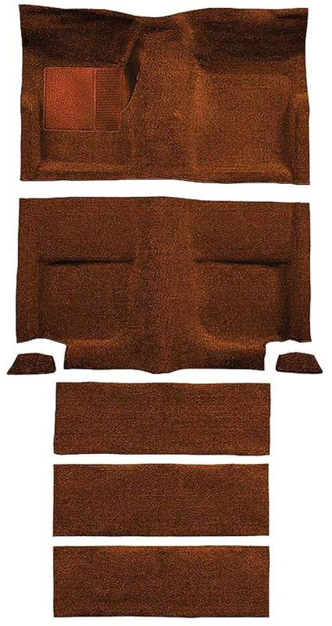 OER 1965-68 Mustang Fastback Nylon Floor Carpet with Fold Downs and Mass Backing - Emberglow A4099B49