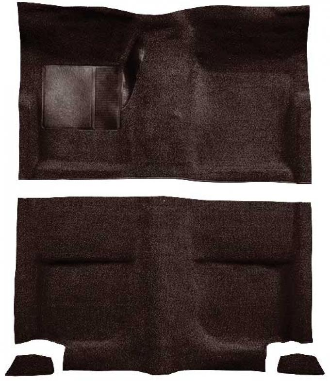 OER 1965-68 Mustang Fastback Passenger Area Loop Floor Carpet Set without Fold Downs - Dark Brown A4044A30