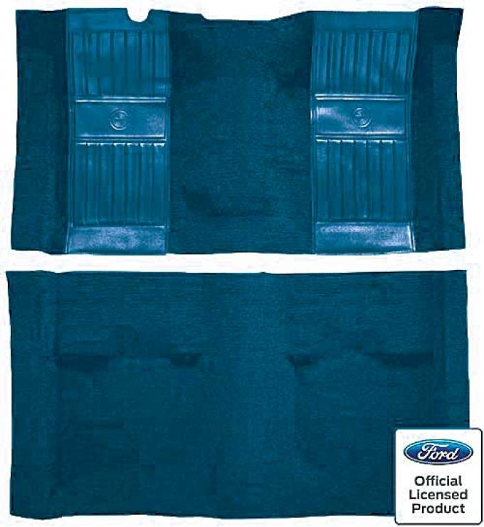 OER 1971-73 Mustang Mach 1 Passenger Area Nylon Floor Carpet - Medium Blue with Medium Blue Pony Inserts A4119A41