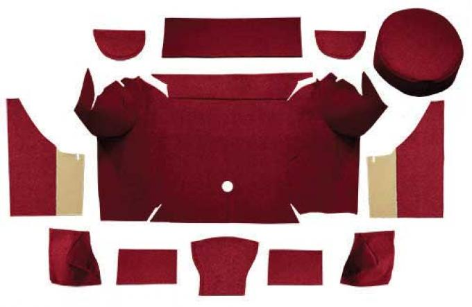 OER 1967-68 Mustang Convertible Loop Trunk Carpet Set with Boards - Maroon A4062A15