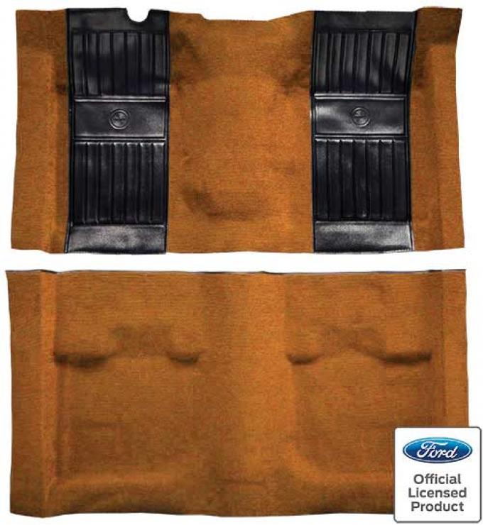 OER 1971-73 Mustang Mach 1 Nylon Floor Carpet with Mass Backing - Medium Saddle with Black Pony Inserts A4115B69