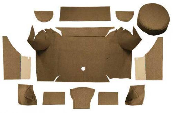 OER 1967-68 Mustang Convertible Loop Trunk Carpet Set with Boards - Medium Saddle A4062A69