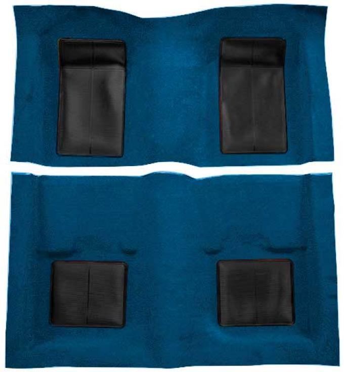 OER 1969 Mustang Mach 1 Passenger Area Nylon Loop Floor Carpet - Dark Blue with Black Inserts A4101A12