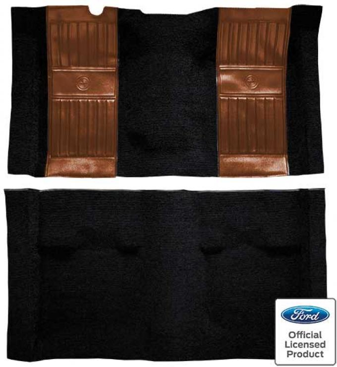 OER 1971-73 Mustang Mach 1 Passenger Area Nylon Floor Carpet - Black with Ginger Pony Inserts A4117A29
