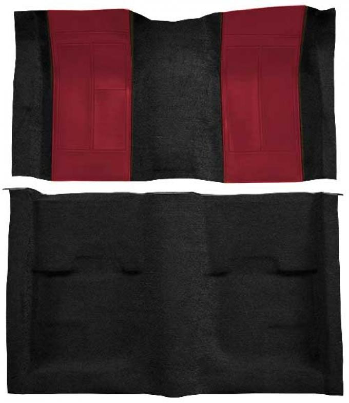 OER 1970 Mustang Mach 1 Nylon Floor Carpet with Mass Backing - Black with Maroon Inserts A4109B15