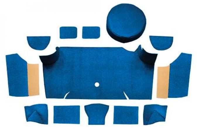 OER 1967-68 Mustang Fastback Nylon Trunk Carpet Kit With Boards - Medium Blue A4083A41