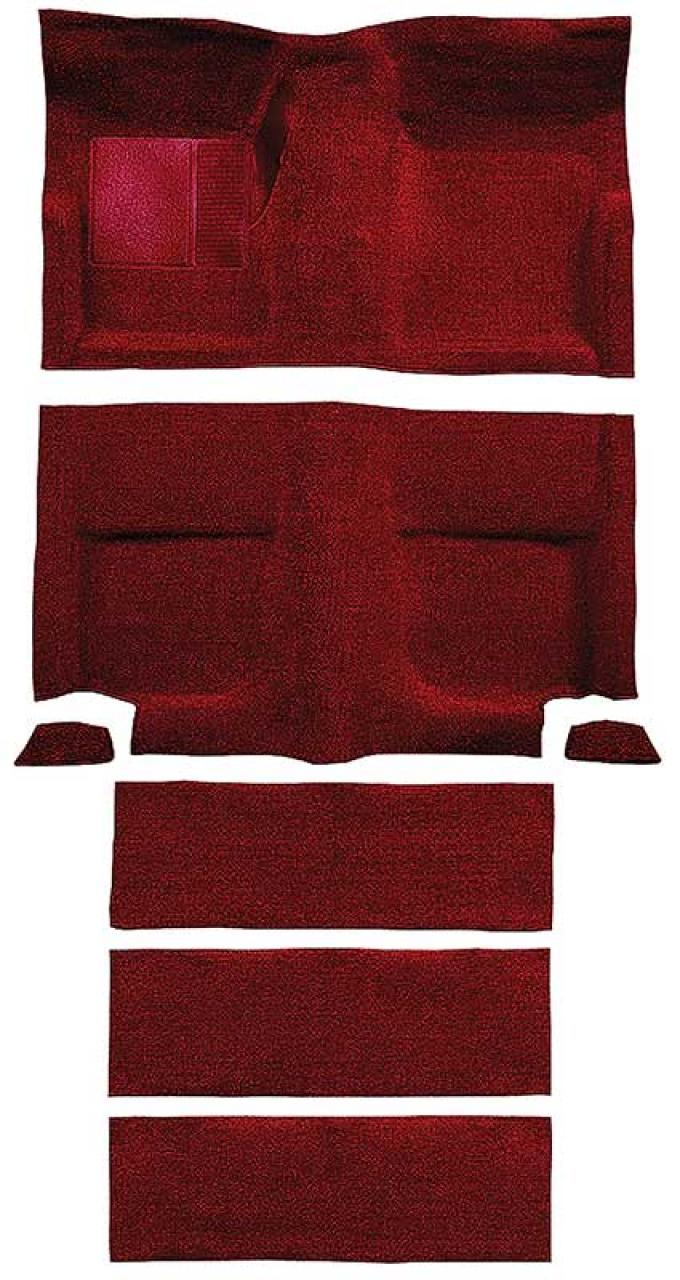 OER 1965-68 Mustang Fastback Nylon Loop Floor Carpet with Fold Downs - Maroon A4099A15