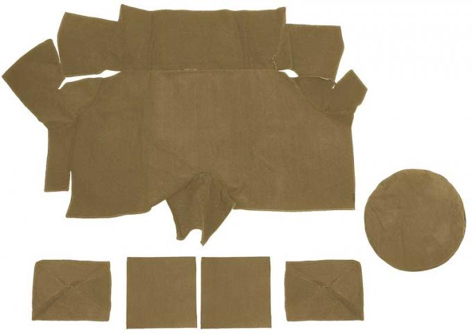 OER 1969-70 Mustang Fastback Nylon Loop Trunk Carpet Set with Boards - Medium Saddle A4087A69