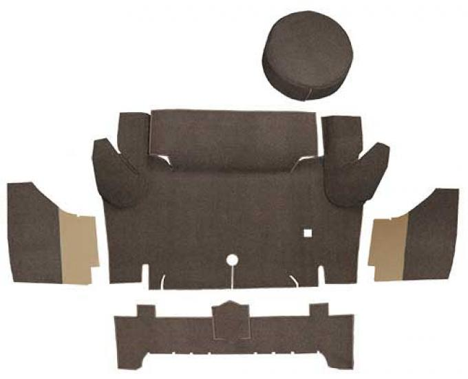OER 1965-66 Mustang Convertible Loop Trunk Carpet Set with Boards - Dark Saddle A4050A18