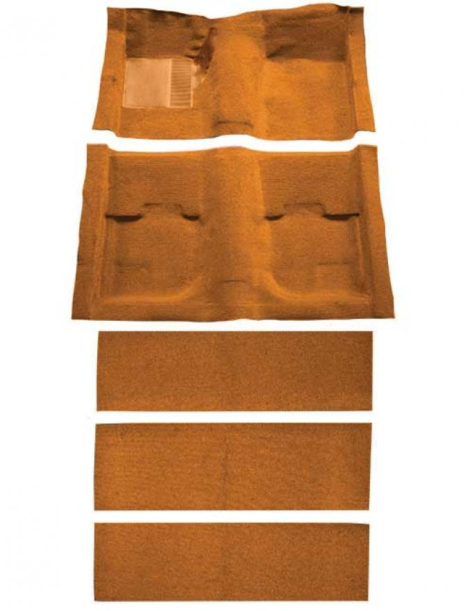 OER 1969-70 Mustang Fastback Nylon Loop Floor Carpet with Fold Downs and Mass Backing - Medium Saddle A4055B69