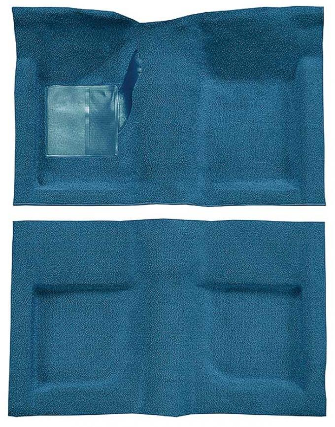 OER 1965-68 Mustang Convertible Passenger Area Nylon Loop Carpet Set with Mass Backing - Light Blue A4047B31