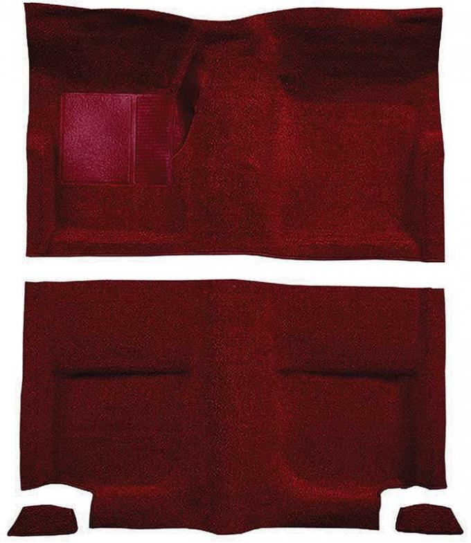 OER 1965-68 Mustang Fastback Nylon Loop Floor Carpet without Fold Downs, with Mass Backing - Maroon A4049B15