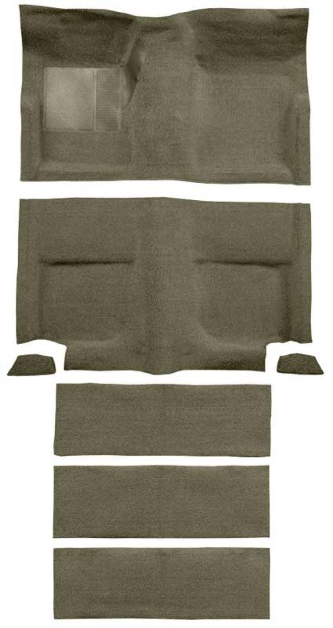 OER 1965-68 Mustang Fastback Passenger Area Loop Carpet with Fold Downs - Ivy Gold A4102A09