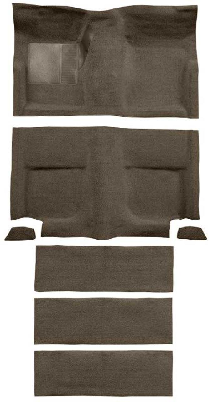 OER 1965-68 Mustang Fastback Loop Carpet with Fold Downs and Mass Backing - Parchment A4102B07
