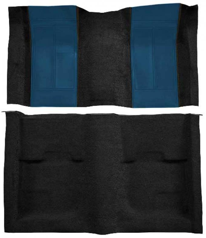 OER 1970 Mustang Mach 1 Nylon Floor Carpet with Mass Backing - Black with Dark Blue Inserts A4109B12