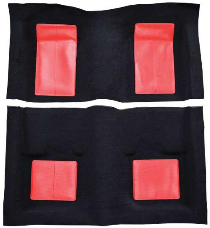 OER 1969 Mustang Mach 1 Passenger Area Nylon Floor Carpet - Black with Red Inserts A4103A02