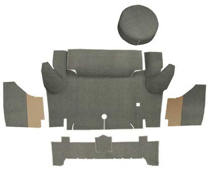 OER 1965-66 Mustang Convertible Loop Trunk Carpet Set with Boards - Parchment A4050A07