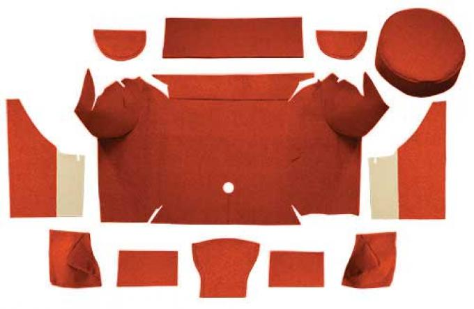 OER 1967-68 Mustang Convertible Nylon Loop Trunk Carpet Set with Boards - Emberglow A4079A49