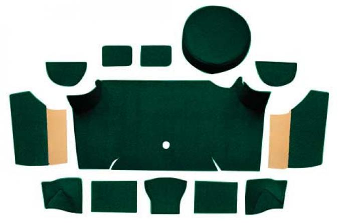 OER 1967-68 Mustang Fastback Nylon Loop Trunk Carpet Set with Boards - Dark Green A4083A13