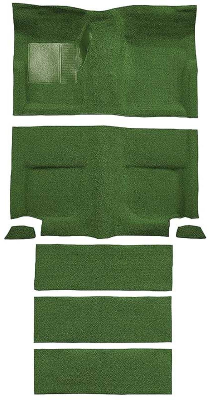 OER 1965-68 Mustang Fastback Nylon Loop Floor Carpet with Fold Downs - Moss Green A4099A19