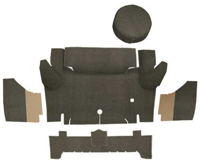 OER 1965-66 Mustang Convertible Loop Trunk Carpet Set with Boards - Dark Brown A4050A30