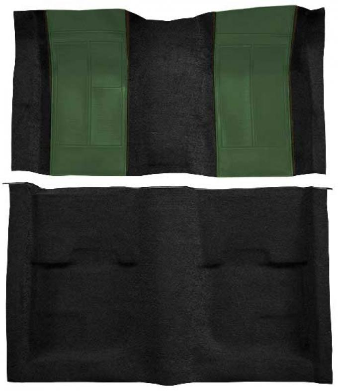 OER 1970 Mustang Mach 1 Nylon Floor Carpet with Mass Backing - Black with Green Inserts A4109B39