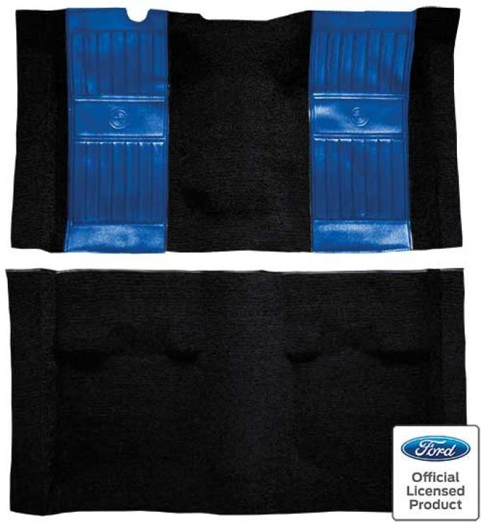 OER 1971-73 Mustang Mach 1 Nylon Floor Carpet with Mass Backing - Black with Medium Blue Pony Inserts A4117B41