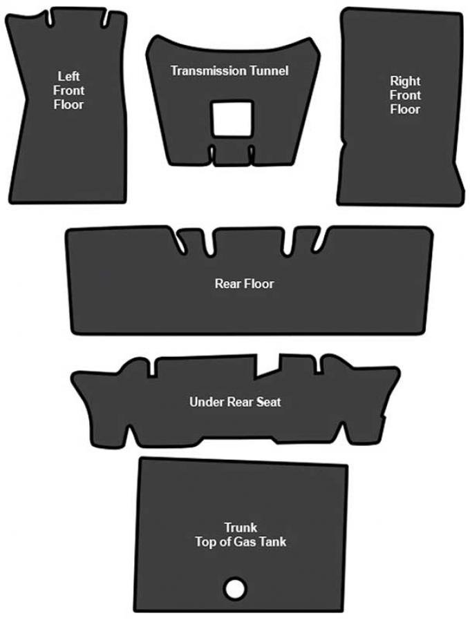 OER 1964-73 Mustang Convertible Sound Deadener 6 Piece EVA A4123A00
