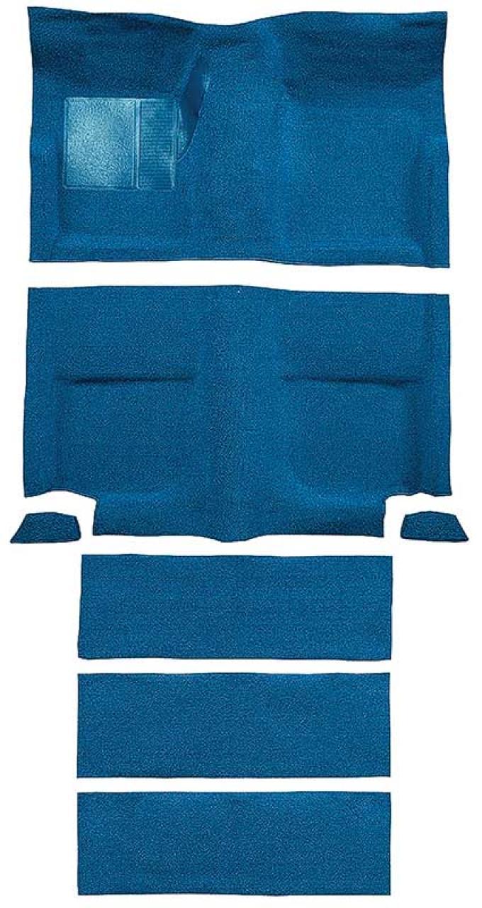 OER 1965-68 Mustang Fastback Nylon Loop Floor Carpet with Fold Downs - Medium Blue A4099A41