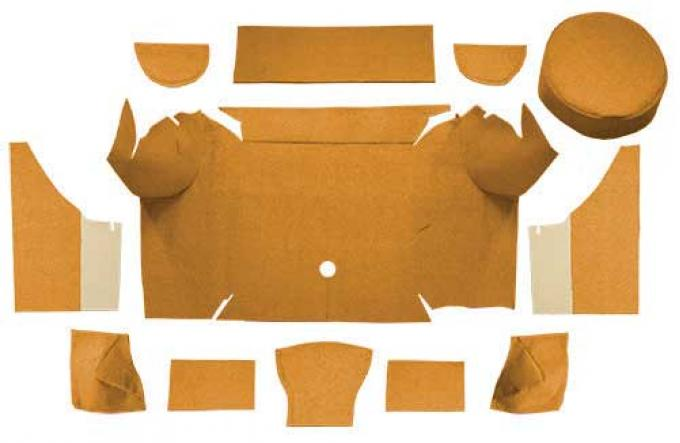 OER 1967-68 Mustang Convertible Nylon Loop Trunk Carpet Set with Boards - Medium Saddle A4079A69
