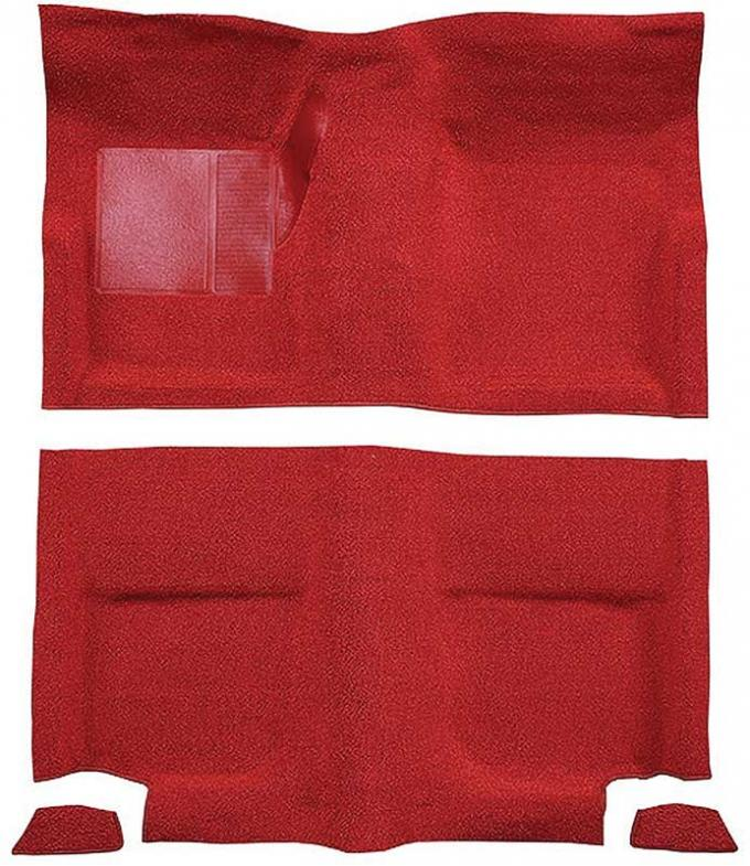 OER 1965-68 Mustang Fastback Passenger Area Nylon Loop Floor Carpet without Fold Downs - Red A4049A02