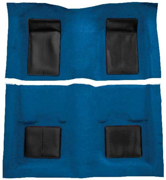 OER 1969 Mustang Mach 1 Passenger Area Nylon Loop Floor Carpet - Medium Blue with Black Inserts A4101A41