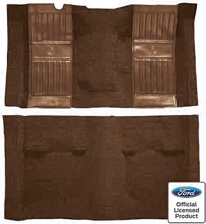OER 1971-73 Mustang Mach 1 Passenger Area Nylon Floor Carpet - Ginger with Ginger Pony Inserts A4119A29