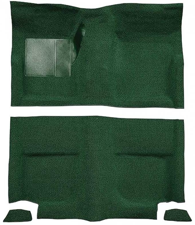 OER 1965-68 Mustang Fastback Passenger Area Nylon Loop Floor Carpet without Fold Downs - Green A4049A39