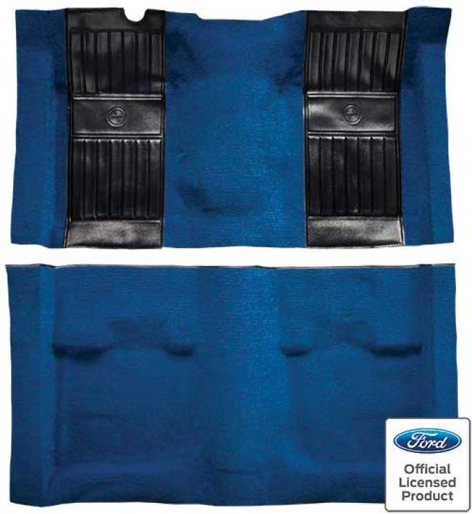 OER 1971-73 Mustang Mach 1 Nylon Floor Carpet with Mass Backing - Medium Blue with Black Pony Inserts A4115B41