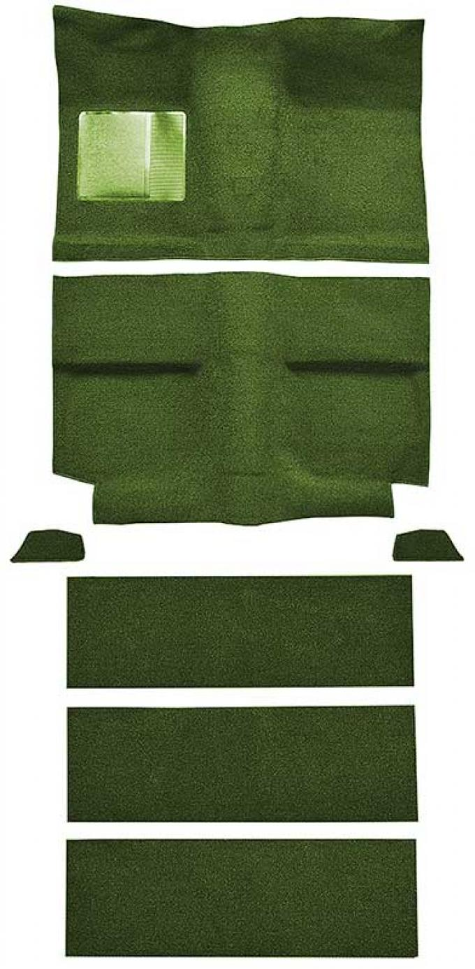 OER 1964 Mustang Fastback with Folddowns Nylon Loop Floor Carpet Set with Mass Backing - Moss Green A4037B19