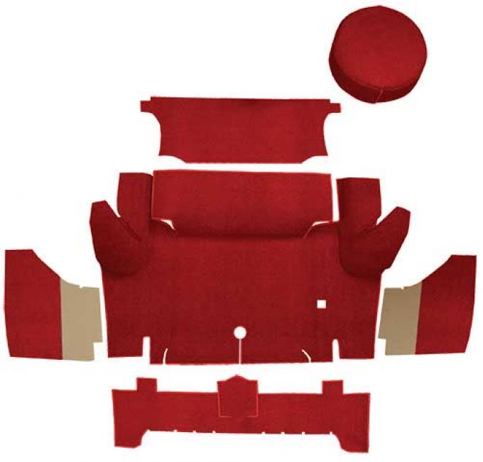 OER 1965-66 Mustang Coupe Loop Trunk Carpet Set with Boards - Red A4046A02